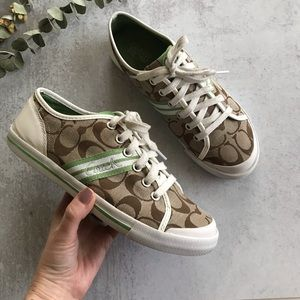 COACH Folly Oxfords Jacquard Khaki Sneakers 7